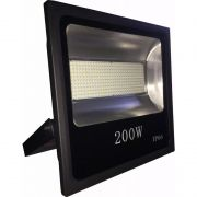 Refletor Holofote Led SMD 200W Branco Frio Preto