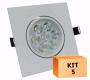 Kit 5 Spot Led direcionável Quadrado 7W Branco Frio 6000K