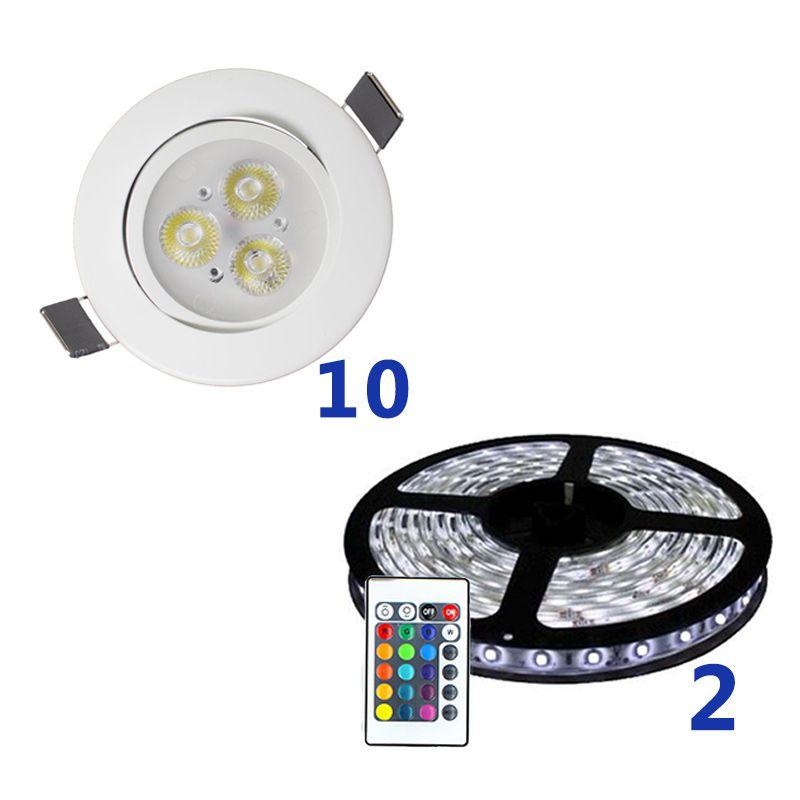 Kit de Led para Sanca RGB com 10 spots e 10 Metros de Fita RGB com Fonte