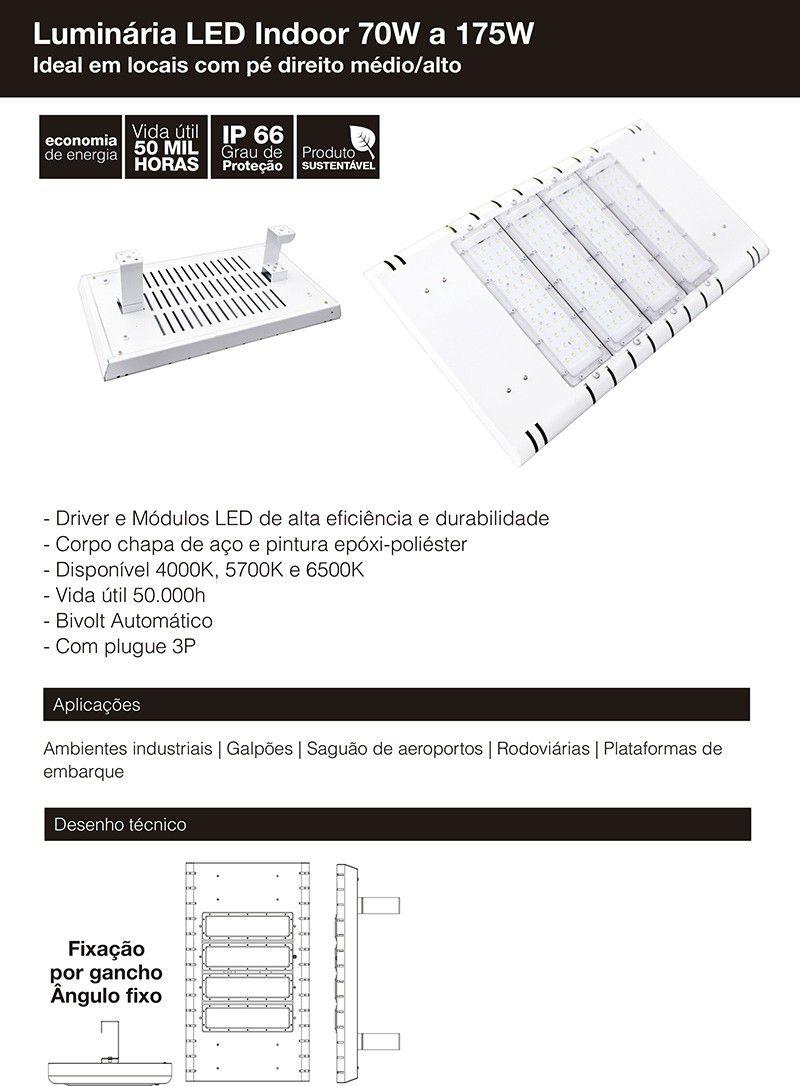 Luminária Indoor 3 módulos 105W 12.000 Lumens Branco Quente