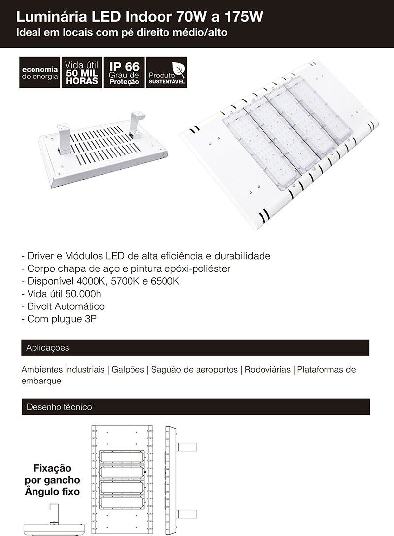 Luminária Indoor 4 módulos 140W 16.000 Lumens Branco Quente