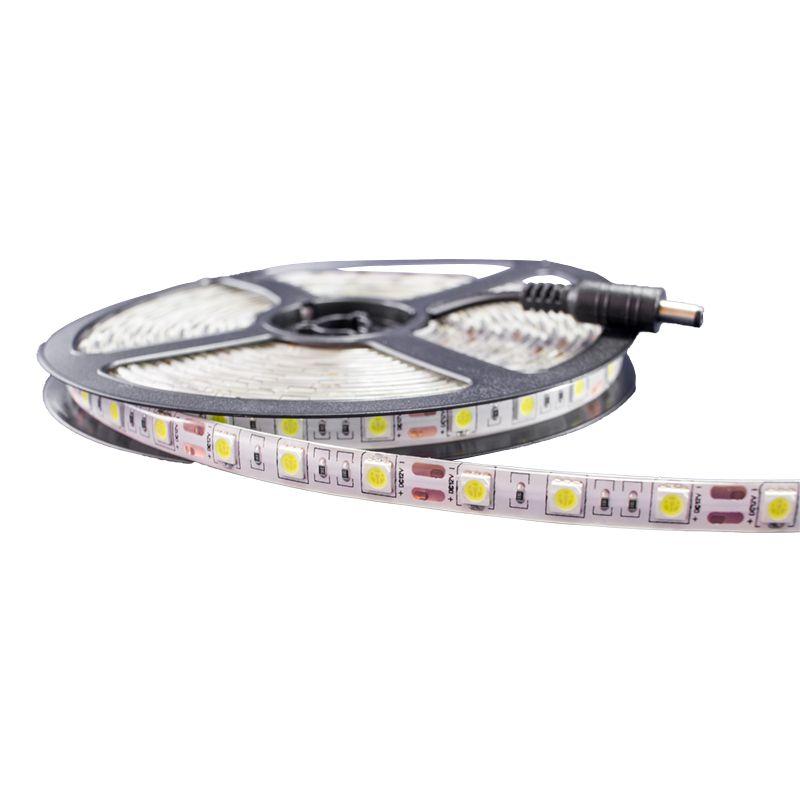 Fita LED 5050 Branco Quente Rolo 5m com fonte 12V 2A