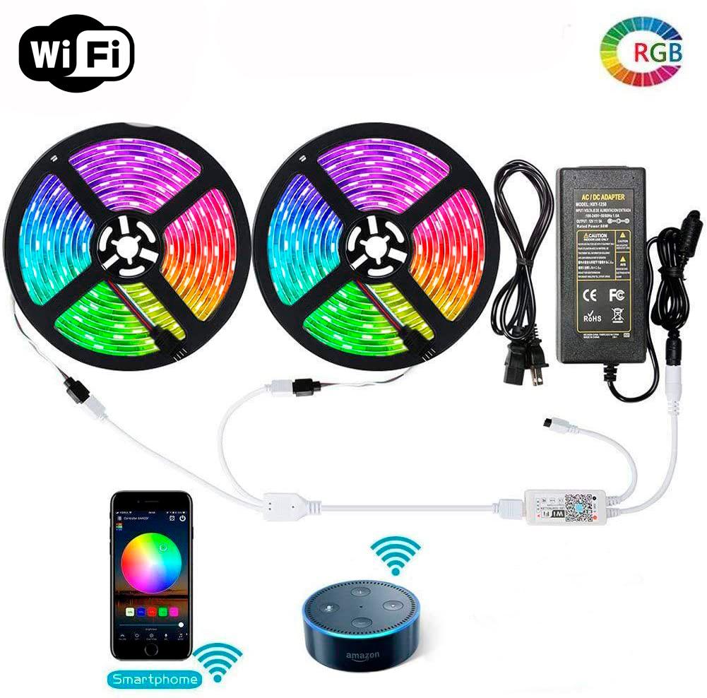 Fita LED RGB 3528 10M com Fonte 12V 2A e Controladora Wi-Fi