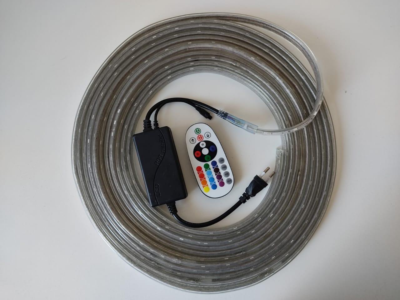 Fita LED RGB 5050 10m Premium Grossa Resistente e Fonte 220v