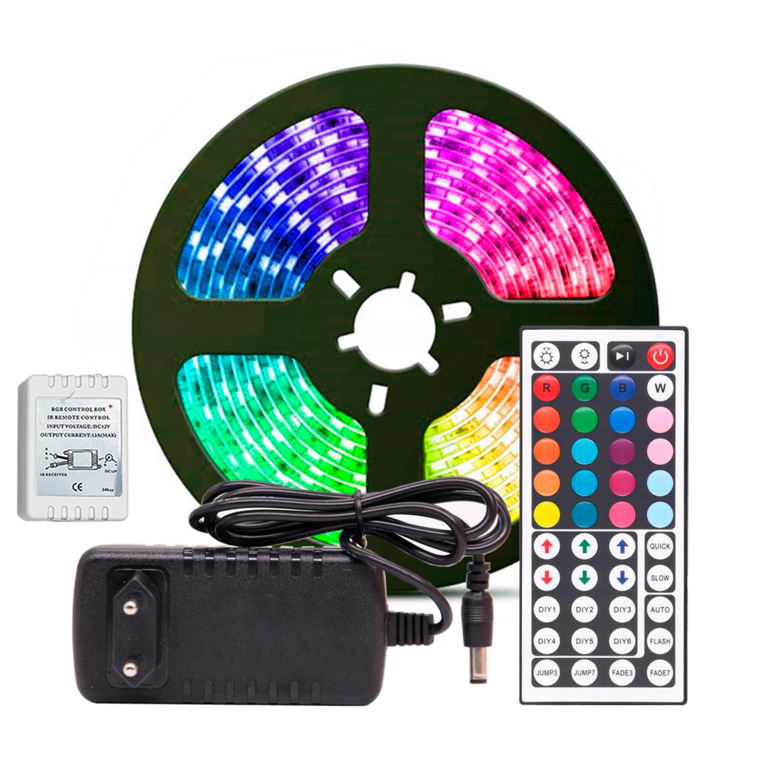 Fita LED RGB 5050 5 metros Fonte 3A Controle 44 Teclas DIY