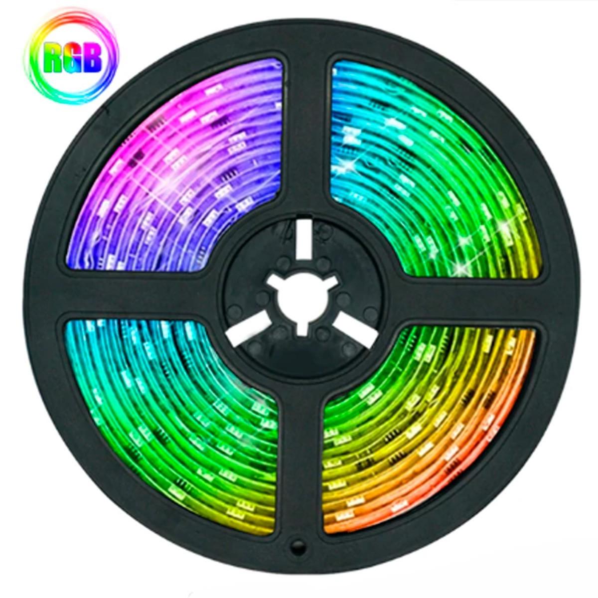 Fita LED RGB 5050 Rolo 10M com Fonte 12V 3A e Controle Remoto