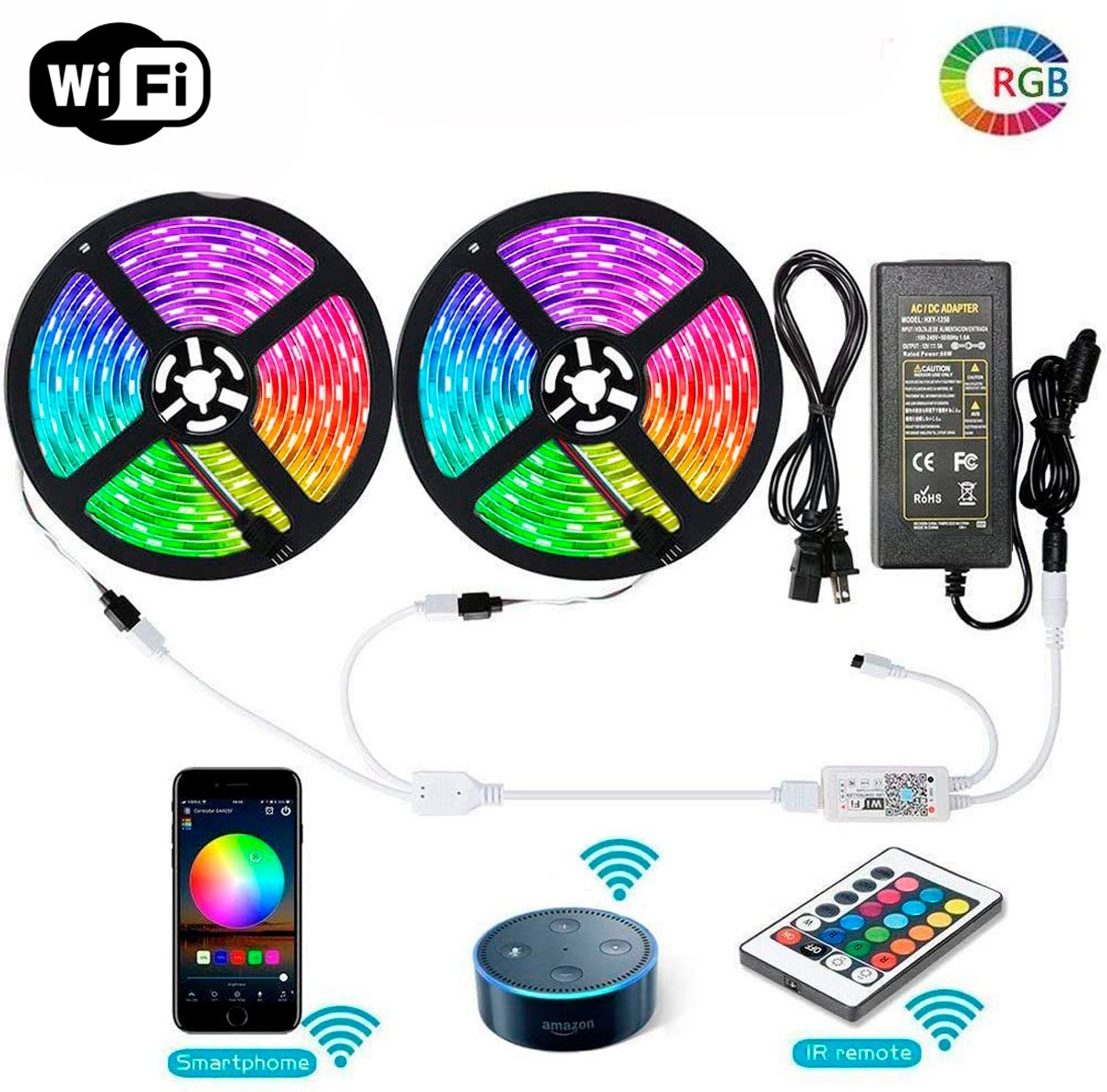 Fita RGB 5050 10m Wi-fi Alexa Google Assistent com Controle Remoto e Fonte
