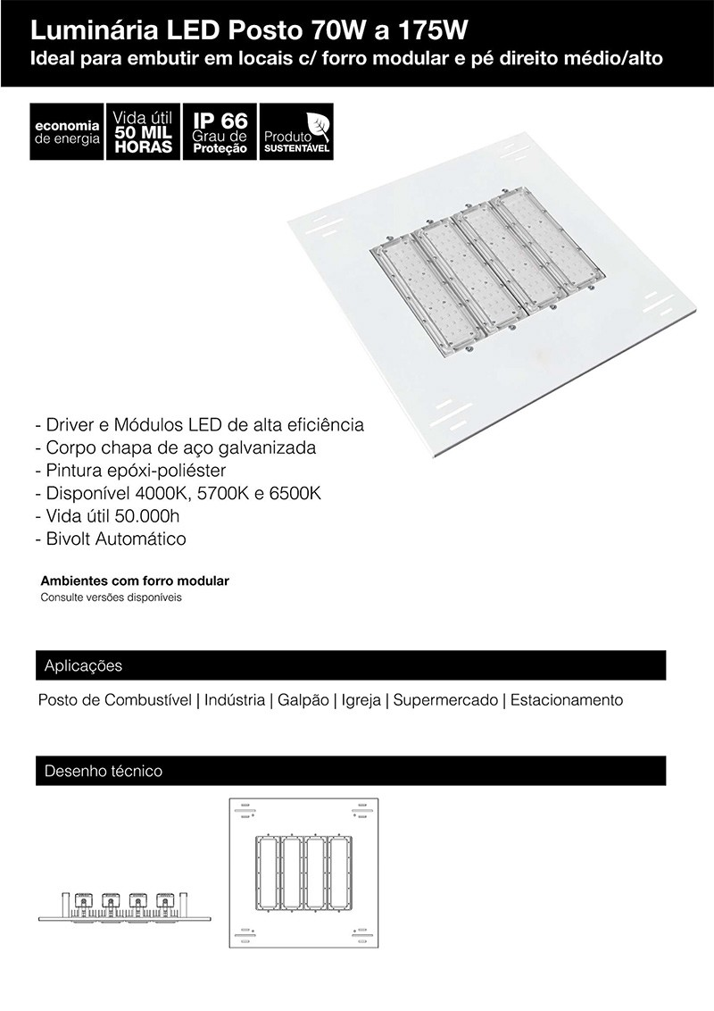 Iluminação de posto 5 módulos 175W 20.000 Lumens Branco Frio