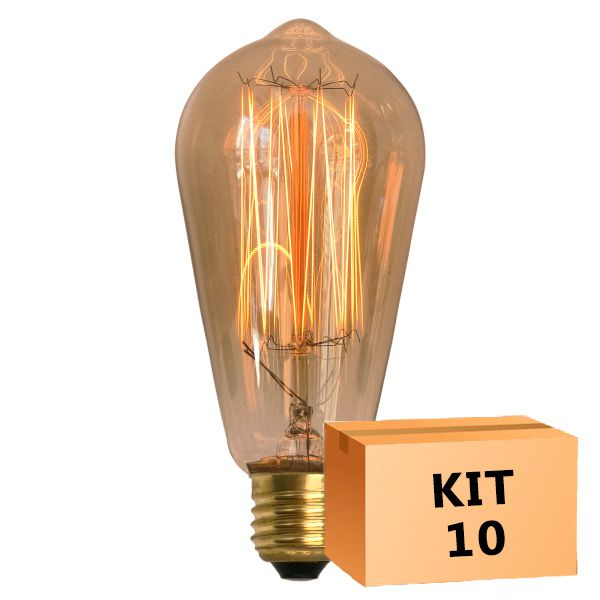 Kit 10 Lâmpada de Filamento de Carbono ST64 Squirrel Cage 40W 110V