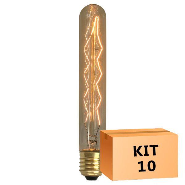 Kit 10 Lâmpada de Filamento de Carbono T30*185 Leaf 40W 110V