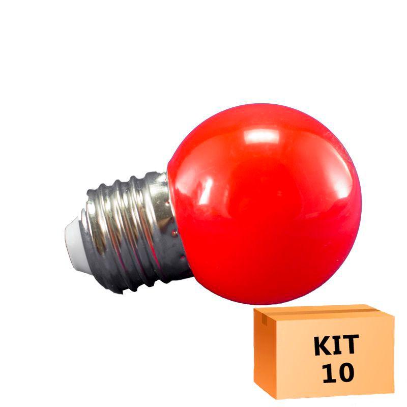 Kit 10 Lâmpada Led Bolinha 1W 110V Vermelho