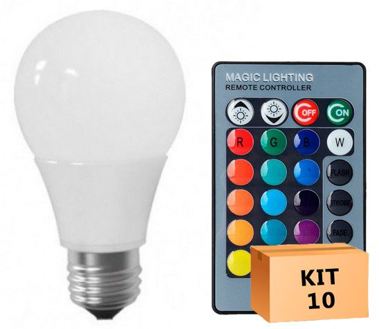Kit 10 Lâmpada LED Bulbo 05W RGB