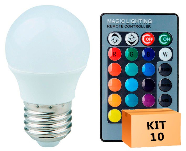 Kit 10 Lâmpada LED Bulbo Bolinha 03W RGB