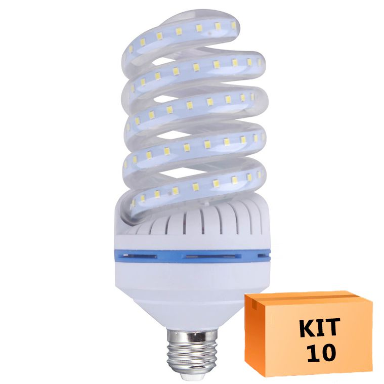 Kit 10 Lâmpada Led Espiral 24W