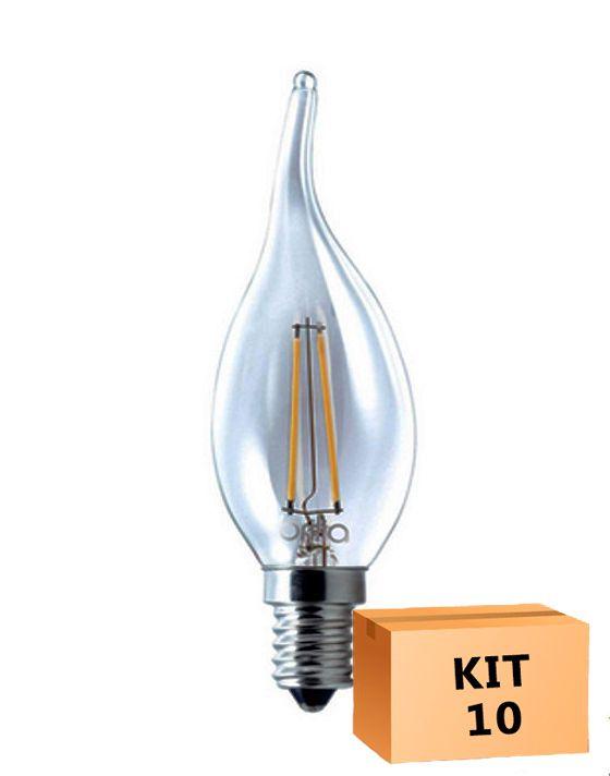 Kit 10 Lâmpada LED Filamento 4W Vela Âmbar E14