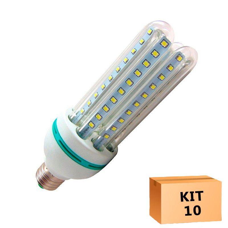 Kit 10 Lâmpada Led Milho 16W Branco Quente