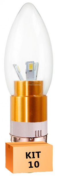 Kit 10 Lâmpada Led Vela 03W Soquete E27 Branco Quente