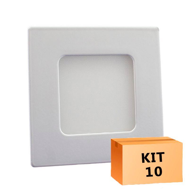 Kit 10 Plafon Led de Embutir Quadrado  03W - 08 x 08 cm Quente 3000K