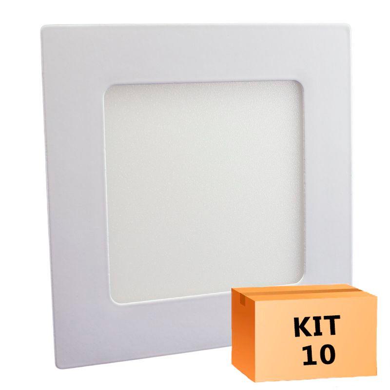 Kit 10 Plafon Led de Embutir Quadrado 06W - 12,5 x 12,5 cm Quente 3000K