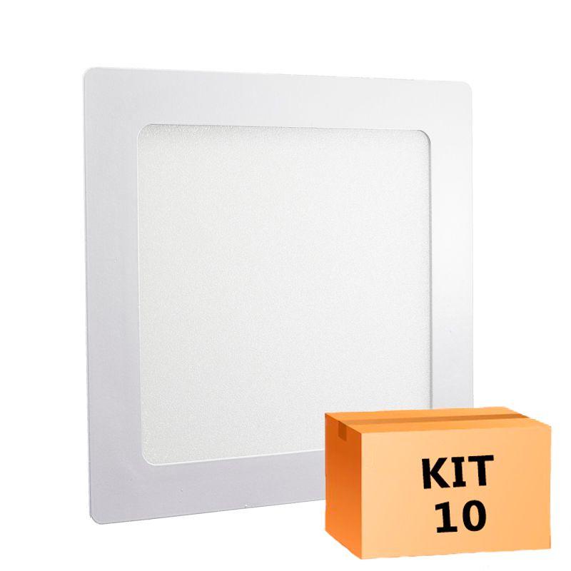 Kit 10 Plafon Led de Embutir Quadrado  18W - 22 x 22 cm Quente 3000K