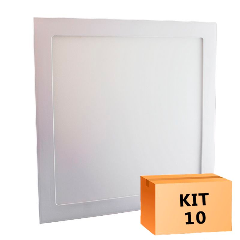 Kit 10 Plafon Led de Embutir Quadrado  32W - 30 x 30 cm Quente 3000K