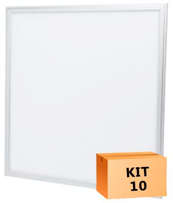 Kit 10 Plafon Led de Embutir Quadrado  45W - 60 x 60 cm Branco Frio 6000K