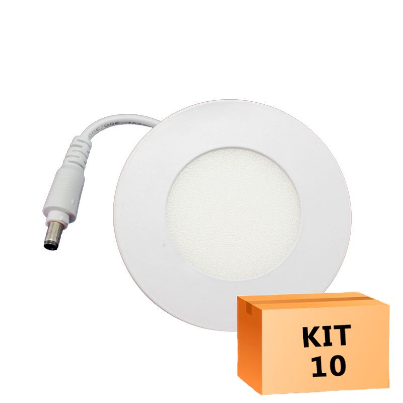 Kit 10 Plafon Led de Embutir Redondo  03W - 08 cm Quente 3000K