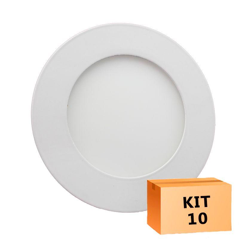 Kit 10 Plafon Led de Embutir Redondo  06W - 12,5 cm Quente 3000K