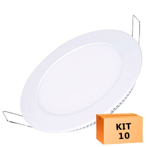 Kit 10 Plafon Led de Embutir Redondo  24W - 30 cm Quente 3000K