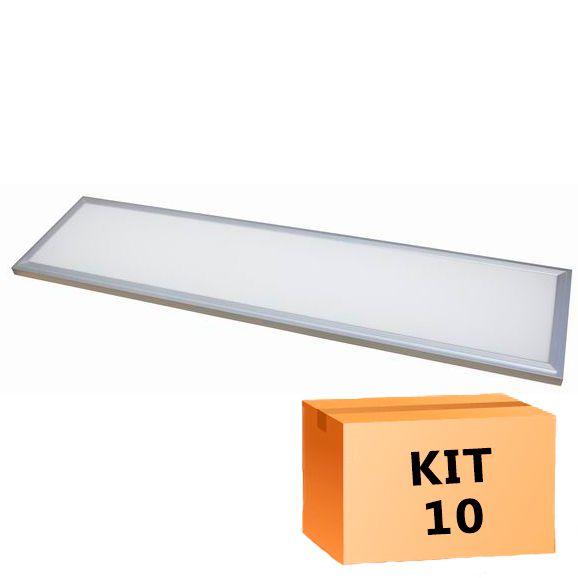 Kit 10 Plafon Led de Embutir Retangular  48W - 30 x 120 cm Branco Frio 6000K