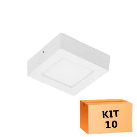 Kit 10 Plafon Led de Sobrepor Quadrado  06W - 12 x 12 cm Quente 3000K