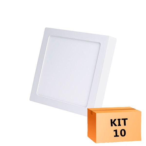 Kit 10 Plafon Led de Sobrepor Quadrado  12W - 17 x 17 cm Quente 3000K
