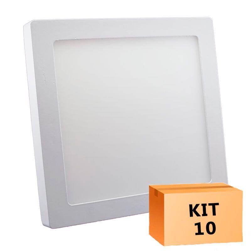 Kit 10 Plafon Led de Sobrepor Quadrado  18W - 22 x 22 cm Quente 3000K
