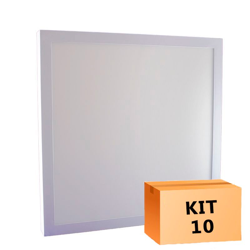 Kit 10 Plafon Led de Sobrepor Quadrado  36W - 40 x 40 cm Branco Frio 6000K