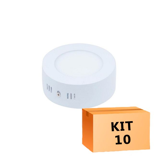 Kit 10 Plafon Led de Sobrepor Redondo  06W - 12 cm Branco Frio 6000K