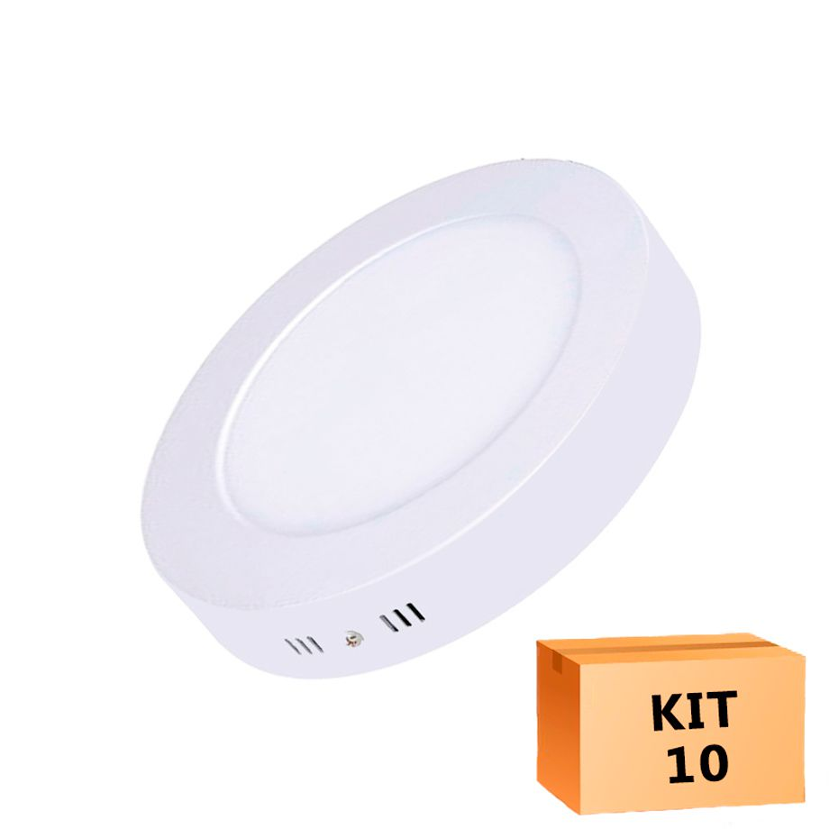 Kit 10 Plafon Led de Sobrepor Redondo  12W - 17,5 cm Morno 4000K