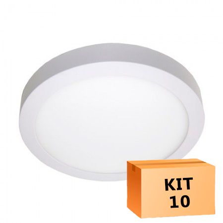 Kit 10 Plafon Led de Sobrepor Redondo  24W - 30 cm Branco Frio 6000K