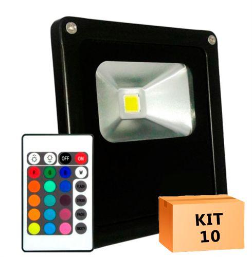 Kit 10 Refletor Led 10W RGB Uso Externo