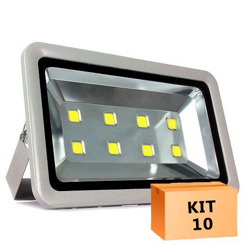 Kit 10 Refletor Led 400W Branco Frio Uso Externo
