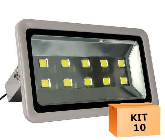 Kit 10 Refletor Led 500W Branco Frio Uso Externo