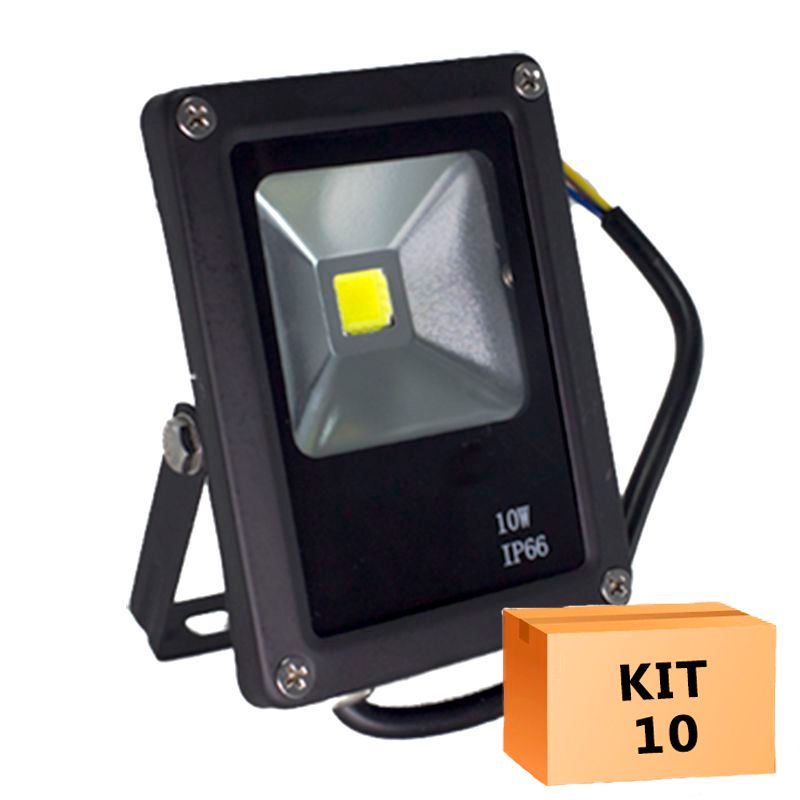 Kit 10 Refletor Led Slim 10W Branco Frio Uso Externo