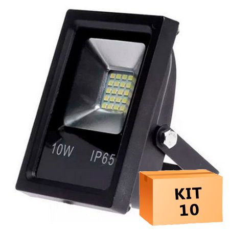 Kit 10 Refletor Led Slim SMD 10W Branco Frio Uso Externo
