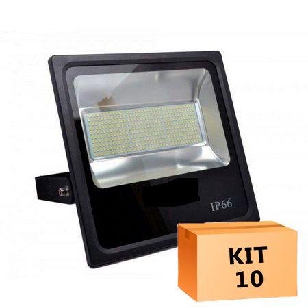 Kit 10 Refletor Led SMD 400W Branco Frio Uso Externo