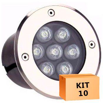 Kit 10 Spot Led Balizador 7w Branco Quente Blindado Embutido para Piso