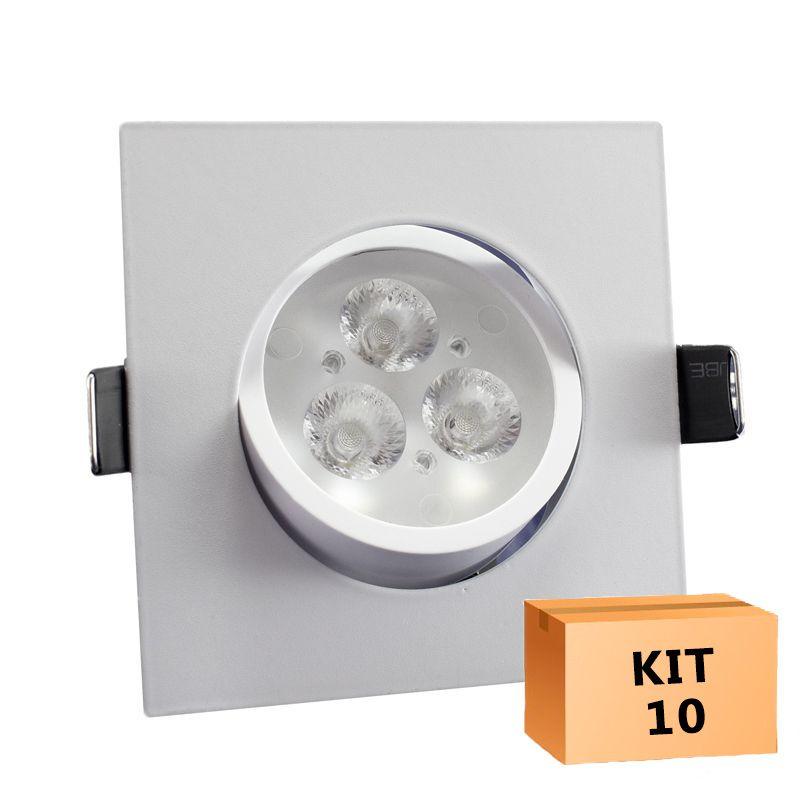 Kit 10 Spot Led direcionável Quadrado 3W Quente 3000K