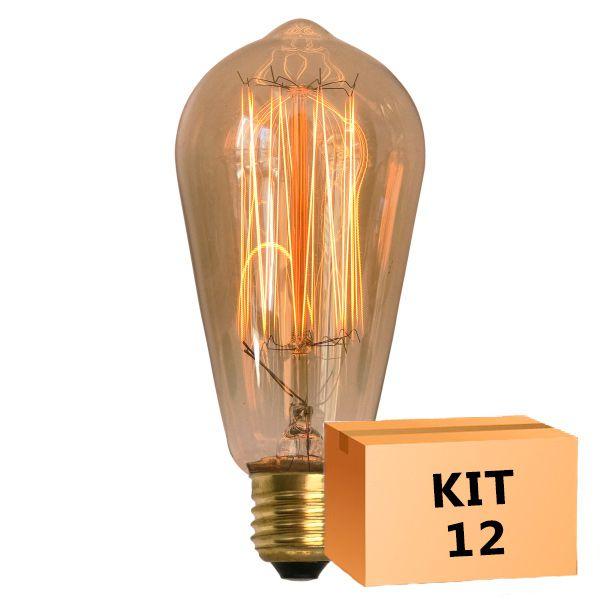 Kit 12 Lâmpada de Filamento de Carbono ST64 Squirrel Cage 40W 110V