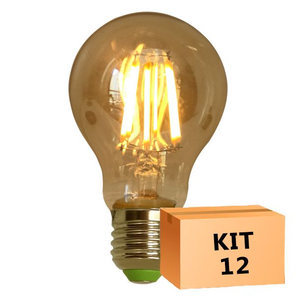 Kit 12 Lâmpada de Filamento de LED A19 Squirrel Cage Cage 4W 110V Dimerizável