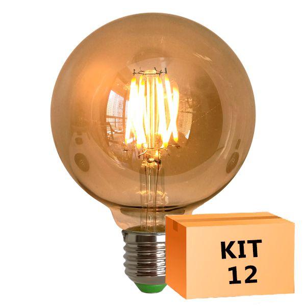 Kit 12 Lâmpada de Filamento de LED G95 Spiral 4W 110V Dimerizável