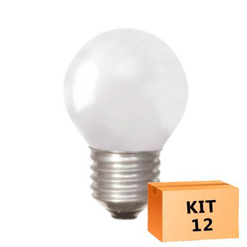 Kit 12 Lâmpada Led Bolinha 1W 110V Laranja