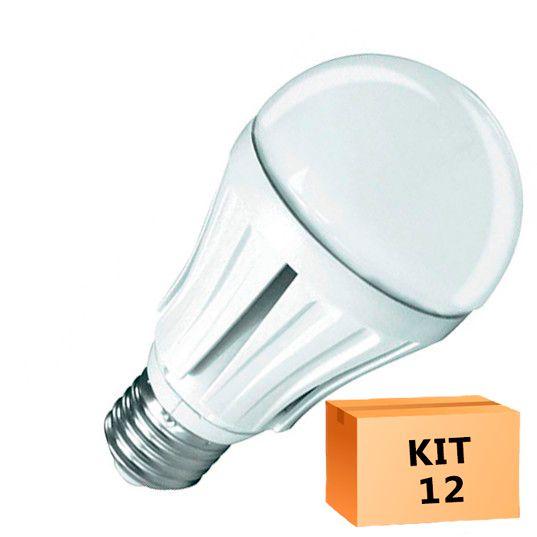 Kit 12 Lâmpada Led Bulbo 12W Branco Quente